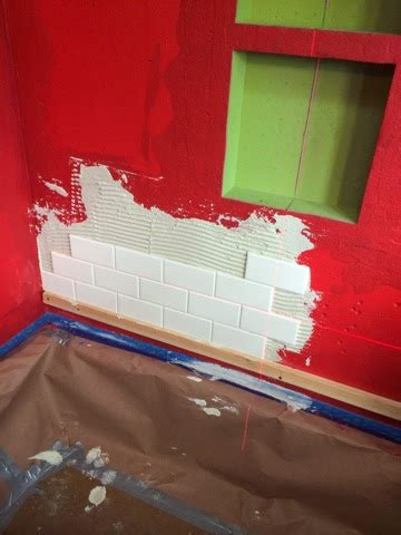 Setting Tile Redguard by Crowbars Cappuccinos