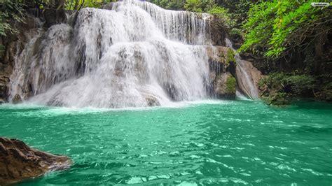 Waterfall Backgrounds Youwall Green Lake Waterfall Wallpaper Wallpaper