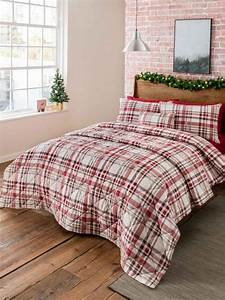 Warm, Check, Brushed, Cotton, Bedding, Collection, Red