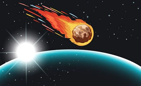comet flying   space   vector art