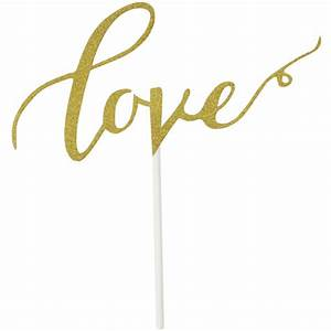 Cake Topper Gold Glitter Calligraphy Love