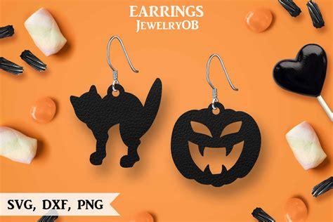 halloween earrings cut file svg dxf png formats pumpkin