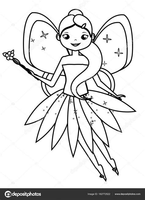bambini gioco disegno pagina da colorare con carattere fata volante