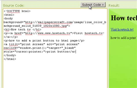 how to add a print button to html page howtech