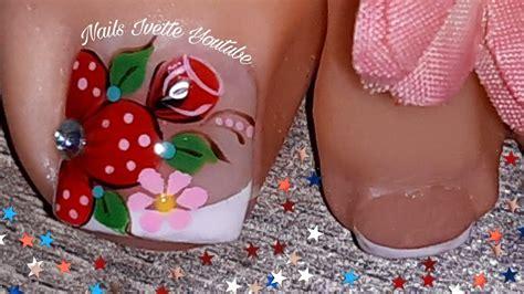 Aquí te dejamos los diseños de uñas de pies decoradas con flores mas. Decoración de uñas para PIE en rojo/modelo de uñas para ...