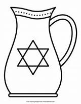 Hanukkah Coloring Oil Pitcher Pages Pdf Printable Primarygames sketch template