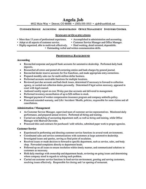 Customer Service Skills On Resume by Customer Service Resume Sle Customer Service Resume