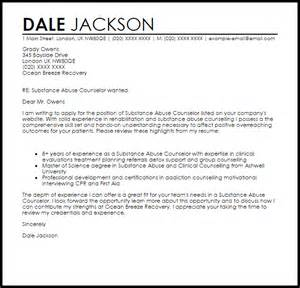 Cover Letter It Support Substance Abuse Counselor Cover Letter Sle Livecareer