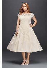 d6da195239f Plus Size Lace Short Oleg Cassini Cap Sleeve Tea Length Wedding Dress -  White