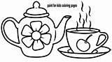 Tea Drawing Teapot Coloring Cup Sets Sketch Toy Template Afkomstig Resultado Imagem sketch template