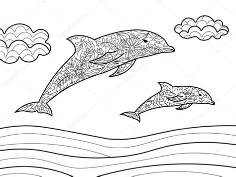 Dolfijnen In De Zee Kleurplaat by Dolfijnen Kleurplaten Boek Voor Volwassenen Vector