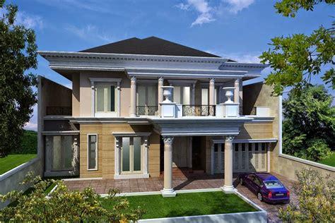 model rumah klasik desain villa rumah tropis kolam