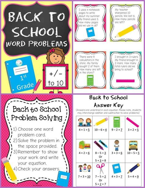 These pages are samples from my following product:first grade word problemshave fun teaching. First Grade Back to School Word Problems   Word problems ...
