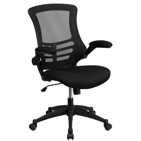 mid back black mesh swivel task chair with mesh padded
