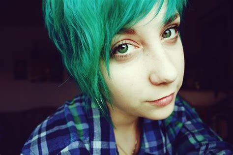 Artistic, Boy, Colored, Green Hair