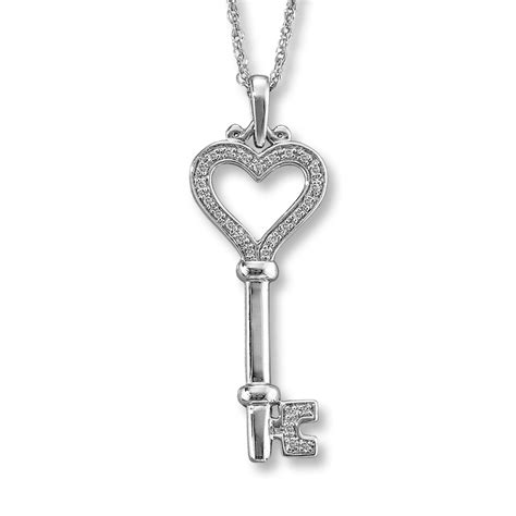 Diamond Key Necklace 1/15 ct tw Round-cut Sterling Silver