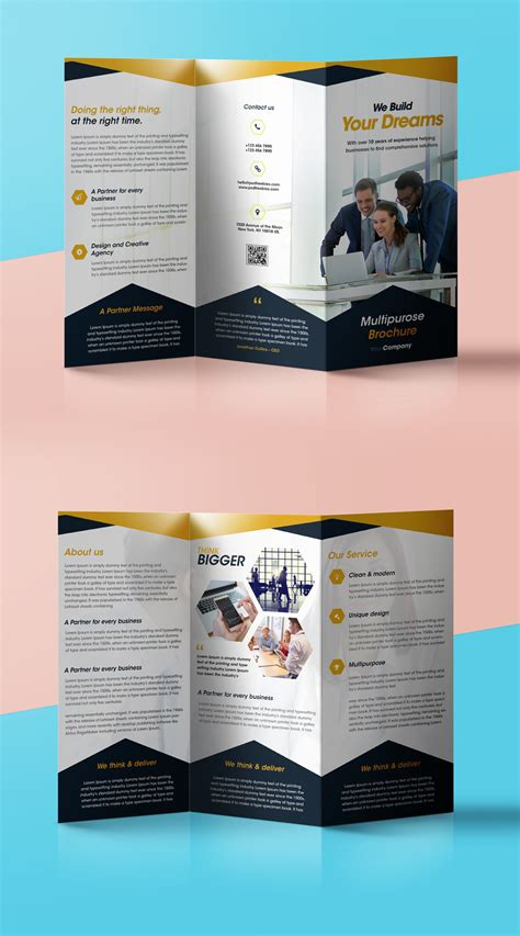 Free Professional Brochure Templates by Professional Corporate Tri Fold Brochure Free Psd Template