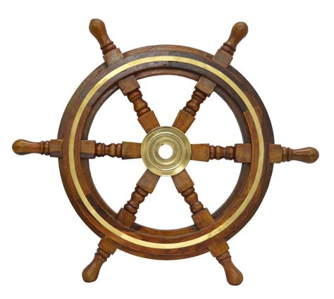 Boat Steering Wheel Home Decor 30 quot nautical wood boat ship with brass ring steering wheel