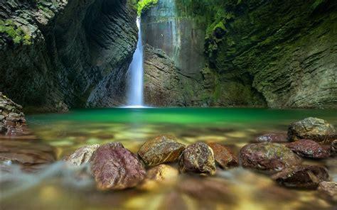 Nature Landscape Pond Waterfall Long Exposure Rock Moss Erosion Wallpapers Hd Desktop