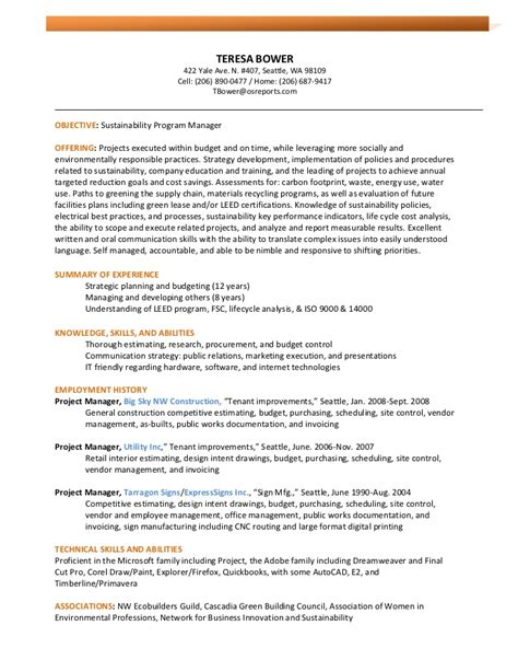 Sustainability Resume bower resume 3 16 11 sustainability pm