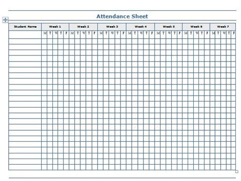printable attendance sheet templates