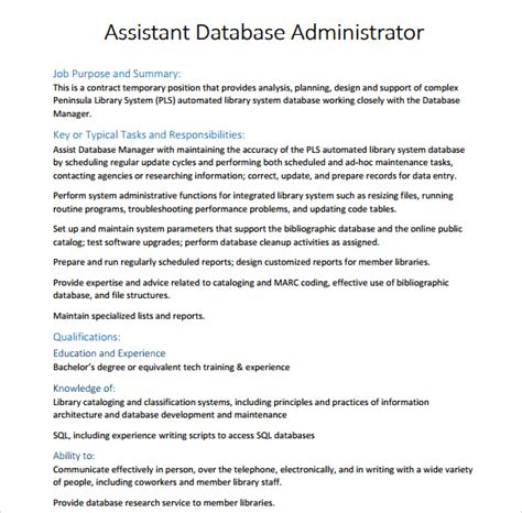 10 database administrator resume templates free sles