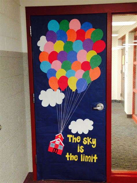 door themes classroom door decor inspired by the movie up instead of a house i made a school house quot the
