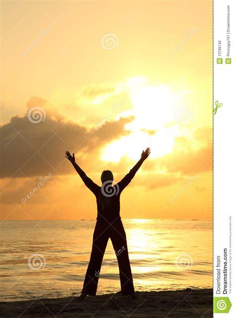 womans silhouette   beach stock photo image