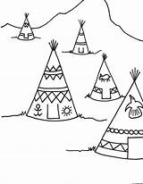 Teepee Coloring Pages Thanksgiving Drawing Tipi Printable Indian Sheets Indians Teepees Sheet Template Colouring Crafts Drawings Preschool Printables Craft Coloringpagesforkids sketch template