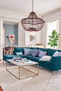 Canapé D Angle Bleu Pétrole : d co salon bleu pour une ambiance l gante et sereine obsigen ~ Teatrodelosmanantiales.com Idées de Décoration