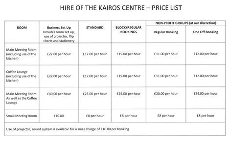 bookings  kairos centre