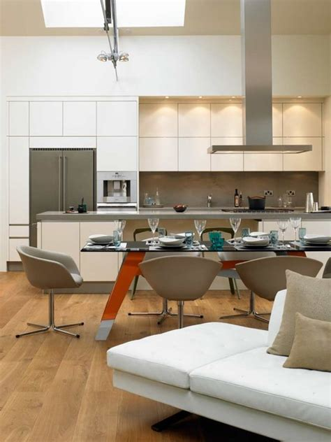 kitchen and dining table modern kitchen london by