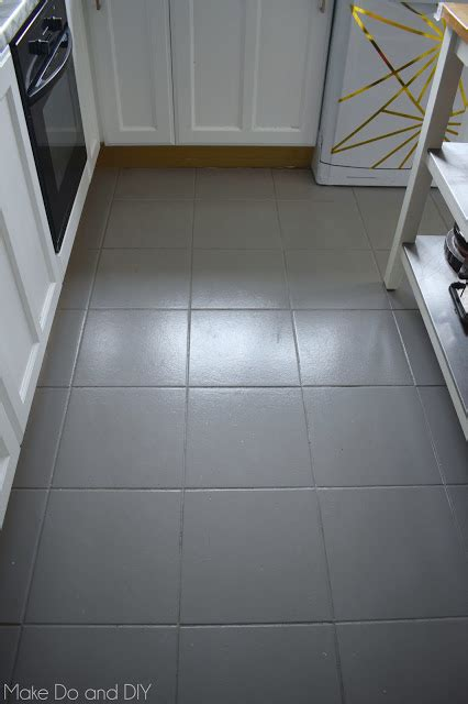painting ceramic tile floors kitchen painted tile floor six months later make do and diy 7320