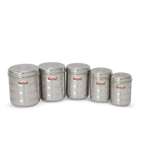 stainless steel kitchen storage containers india shubham kitchen storage steel container jar 5 pc set 9411