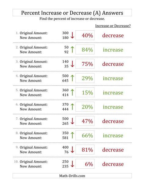 percent increase  decrease   number amounts