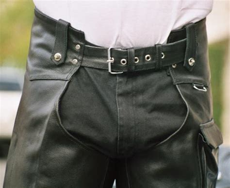 Mens Cargo Pocket Leather Chaps