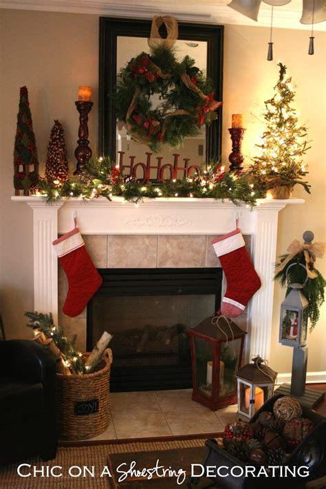 decorating a mantel for christmas chic on a shoestring decorating christmas home tour part 2 rustic christmas