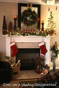 mantel christmas decorations Chic on a Shoestring Decorating: Christmas Home Tour Part 2: Rustic Christmas