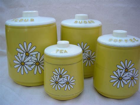 Vintage Kitchen Canisters by Vintage Kitchen Yellow Canisters Set Of 4 Daisies
