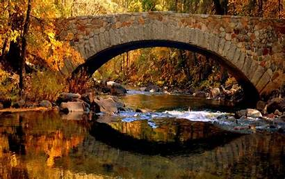 Fall Bridge Autumn Foliage Stone Wallpapers Desktop
