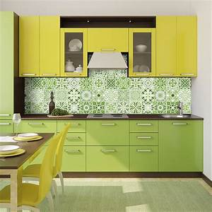 Stickers Carrelage Cuisine 15x15 : 24 stickers carreaux de ciment vert lumi re art et ~ Dailycaller-alerts.com Idées de Décoration