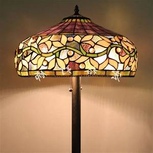 Floor lamps glass shades lamp world for Glass hanging floor lamp