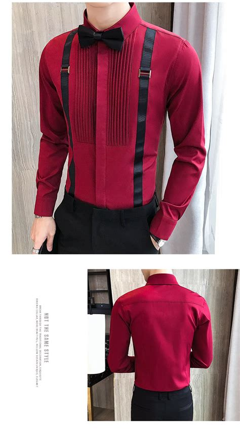 men tuxedo shirts pleated front bow tie fake strap long