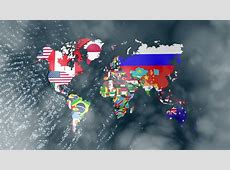3D Flag World With A Slow Zoom To India With Clouds Stock