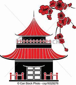 Maison Japonaise Dessin : maison asiatique fleurs cerise fleurs maison stencil asiatique cerise ~ Melissatoandfro.com Idées de Décoration
