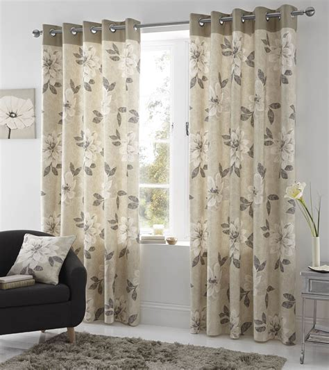 Ring Top Drapery - annabella lined eyelet curtains ready made ring top floral