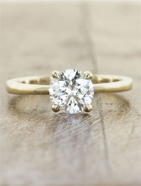 simple classic solitaire ring tapered band ken design