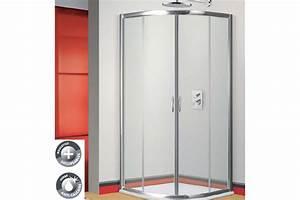 paroi de douche stanzo 1 4 cercle 2 portes chrome With porte de douche coulissante avec lavabo salle de bain 2 robinets