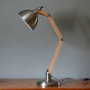 brushed steel and wood angled table lamp by the forest With metal angled floor lamp