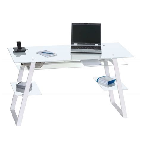 glass desk metal legs harlow glass computer desk in white with metal legs 30930